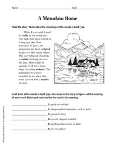 A Mountain Home Worksheet