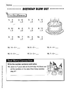 Birthday Blow Out Worksheet