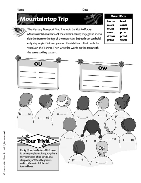 Mountaintop Trip Ou And Ow Spelling Patterns Worksheet