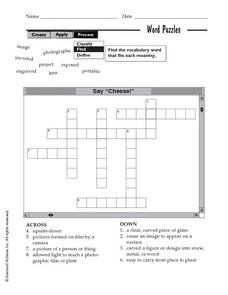 "Say ""Cheese!"" Crossword Puzzle Worksheet"