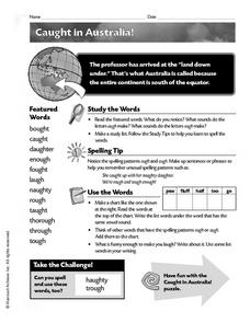 Caught in Australia Worksheet