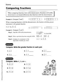 Comparing Fractions - Harcourt Worksheet Worksheet