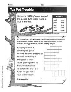 Tea Pot Trouble Worksheet
