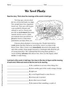 We Need Plants Worksheet