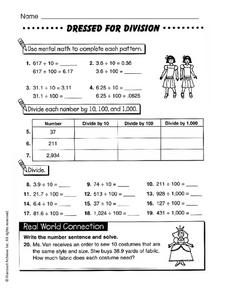 Dressed for Division Worksheet