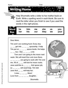 Writing a Letter Home Worksheet