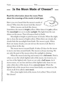 Is the Moon Made of Cheese? Worksheet