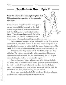 Tee-Ball - A Great Sport Worksheet