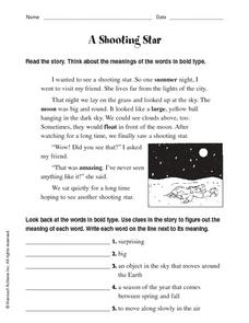 A Shooting Star Worksheet