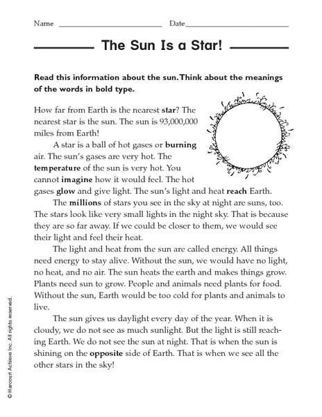 The Sun Is a Star! 4th - 5th Grade Worksheet | Lesson Planet
