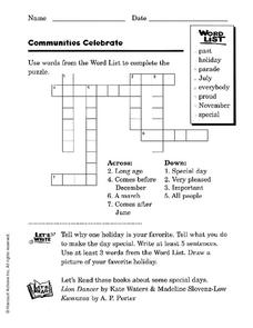 Communities Celebrate Worksheet