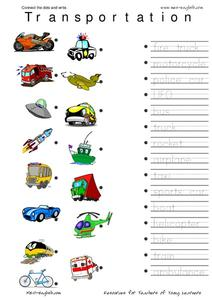 Connect the Dots and Write: Transportation Worksheet