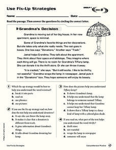 Use Fix-Up Strategies: Grandma's Decision Worksheet