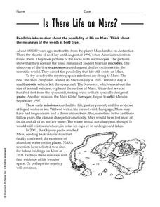 Is There Life on Mars? Worksheet