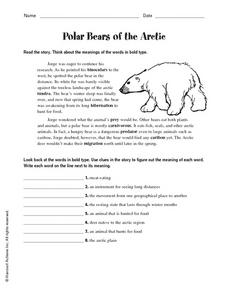 Polar Bears of the Arctic Worksheet