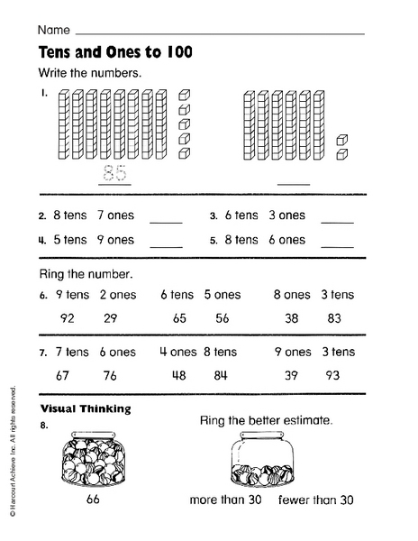 tens and ones to 100 writing numbers worksheet for kindergarten 1st grade lesson planet. Black Bedroom Furniture Sets. Home Design Ideas