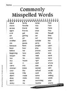 Commonly Misspelled Words (100 Words) Worksheet