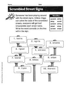 Scrambled Street Signs Worksheet