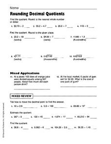 Rounding Decimal Quotients Worksheet