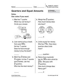 Quarters and Equal Amounts Worksheet