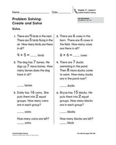 Problem Solving: Create and Solve Worksheet