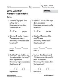 Write Addition Number Sentences Worksheet