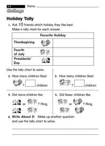 Holiday Tally Worksheet