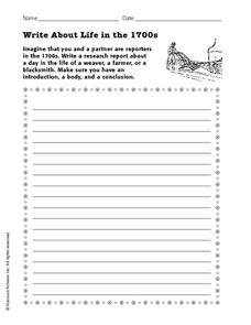 Write About Life in the 1700s Worksheet