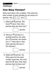 How Many Pennies?  challenge Worksheet
