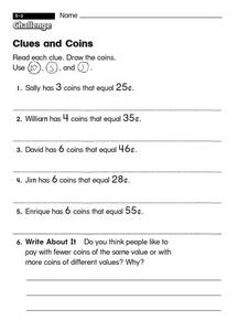 Clues and Coins Worksheet