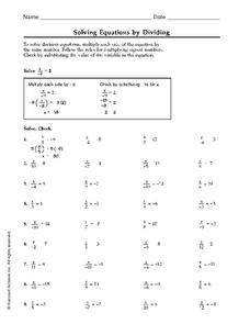 Solving Equations by Dividing Worksheet
