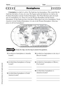 Hemispheres Worksheet