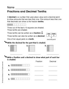 Fractions and Decimal Tenths Worksheet
