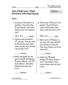 Add 2-Digit and 1-Digit Numbers with Regrouping Worksheet