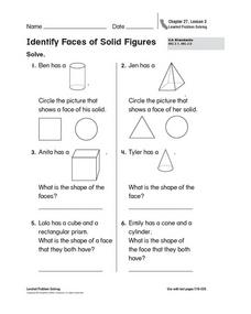 Identify Faces of Solid Figures Worksheet