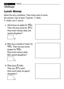 Lunch Money Worksheet
