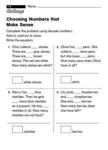 Choosing Numbers That Make Sense Worksheet