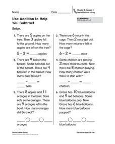 Use Addition to Help You Subtract Worksheet