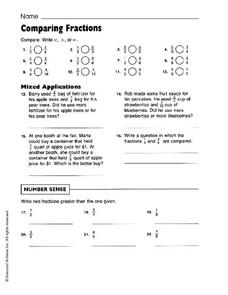 Comparing Fractions - Harcourt Achieve  Worksheet