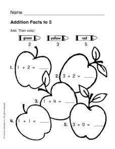 Addition Facts to 5 Worksheet