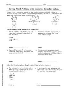 Solving Word Problems with Geometric Formulas: Volume Worksheet