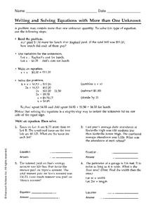 Writing and Solving Equations with More than One Unknown Worksheet