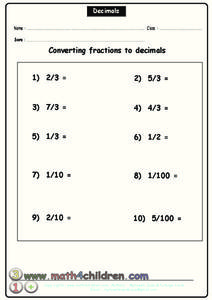 Converting Fractions to Decimals Worksheet