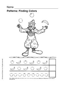 Patterns: Finding Colors Worksheet