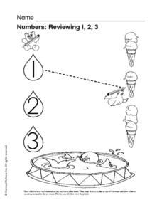 Numbers: Reviewing 1, 2, 3 Worksheet