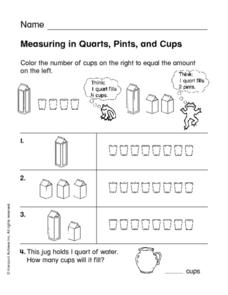 Measuring in Quarts, Pints, and Cups Worksheet