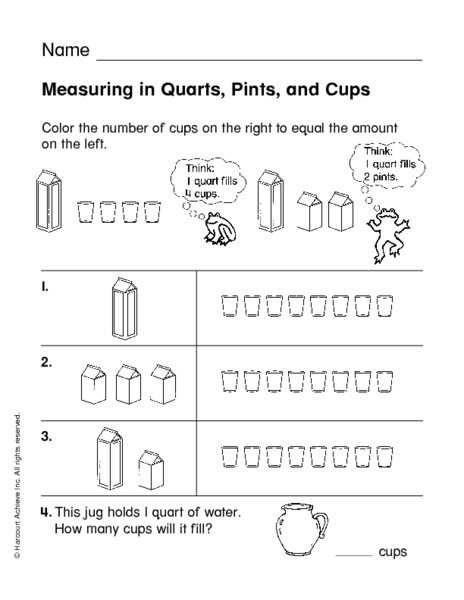 measuring in quarts pints and cups worksheet for 3rd 4th grade lesson planet. Black Bedroom Furniture Sets. Home Design Ideas