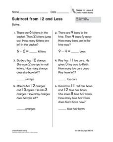 Subtract from 12 and Less Worksheet