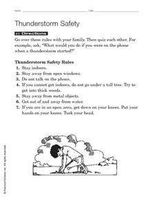 Thunderstorm Safety Worksheet