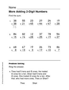 More Adding 2-Digit Numbers Worksheet